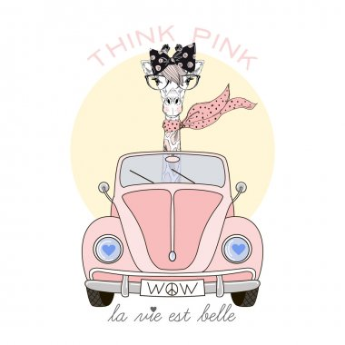 giraffe girl driving pink car