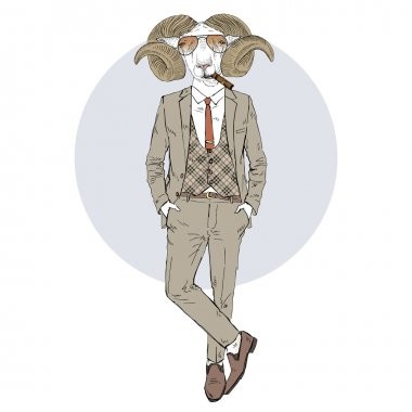 mutton man dressed up in retro style