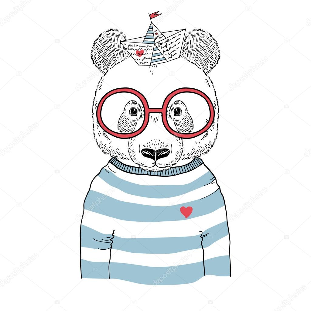 Sailor stock photos illustrations and vector art - Panda Sailor Illustration Stock Vector 100671302