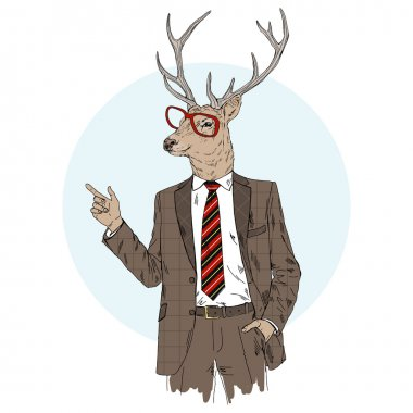 deer dressed up in suit