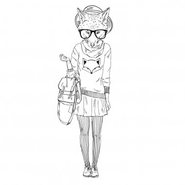 fox girl hipster in foxy pullover