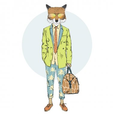fox dressed up in summer suit