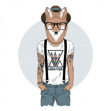 fox hipster with tattoo