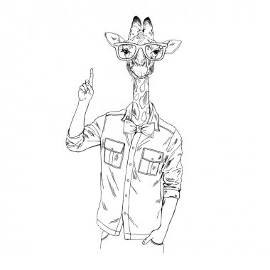 Giraffe hipster point out up.