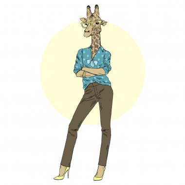 giraffe woman in office style