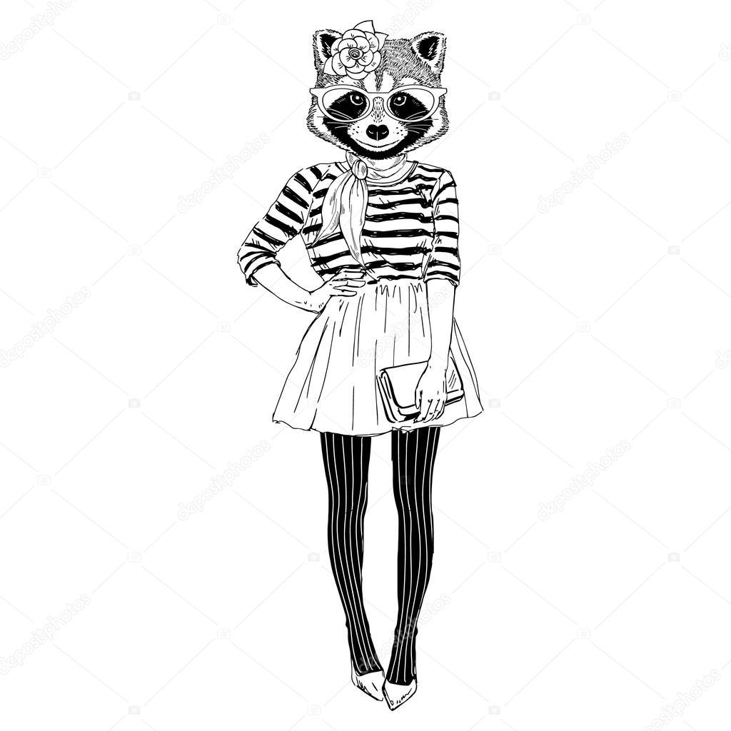 cute raccoon hipster girl