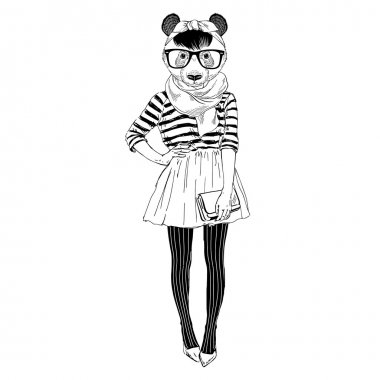 panda girl dressed up
