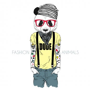 tattooed panda hipster boy