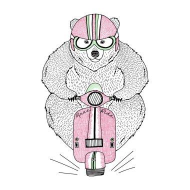Brown bear driving scooter, decorative kid illustration, silk screen print clip art vector
