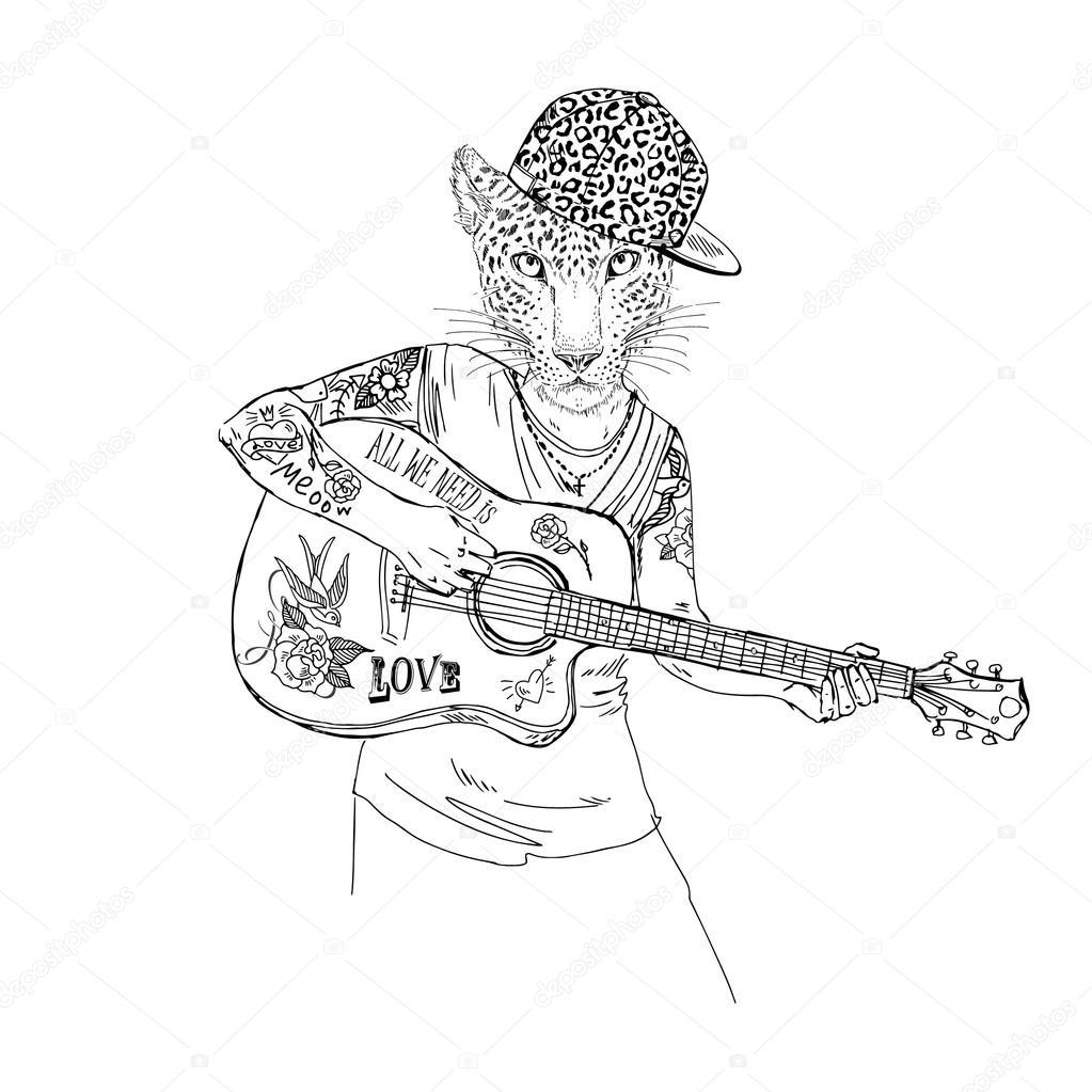 Luipaard Jongen Spelen Guitare Stockvector C Olga Angelloz 111783606
