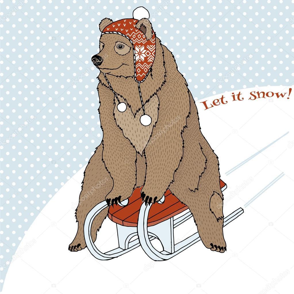 bear riding on sleigh