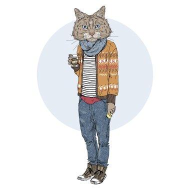 """Картина, постер, плакат, фотообои """"хипстерская кошка с кофе """", артикул 114972362"""