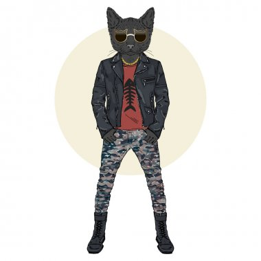 black cat dressed up in punky style