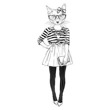 cute cat hipster girl