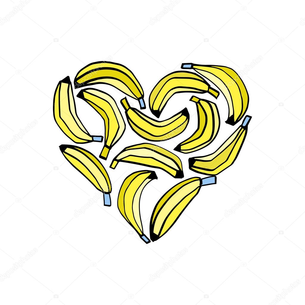 Banana Heart Print Stock Vector C Olga Angelloz 114973156