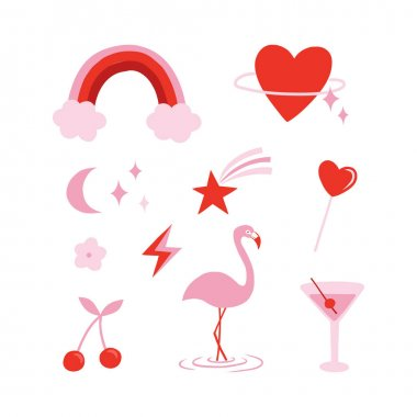 Random objects in red and pink aesthetic clipart set isolated on white. Rainbow Heart shaped planet Comet Star Moon Lightning Flamingo Cherry Lollipop Cocktail vector illustration icon