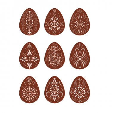 Easter folksy decorative Eggs with Ukrainian Pysanka folk art ornament vector clipart set isolated on white background. Traditional Easter ornament for Christian spring holidays. icon