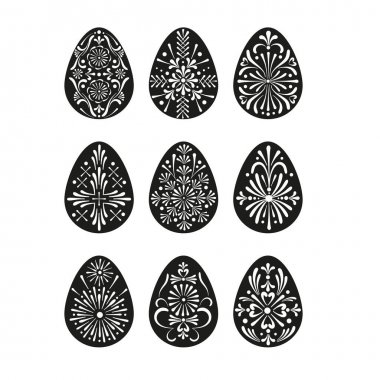 Easter folksy decorative Eggs with Ukrainian Pysanka folk art ornament vector black white isolated clipart set Traditional Easter ornament for Christian spring holidays. icon