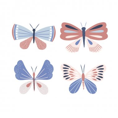 Whimsy ornate decorative butterfly vector illustration set. Floral moth clip art collection isolated on white. Modern folksy summer wings kid design for card making, scrapbook, t-shirt print icon