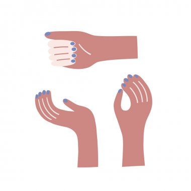 Dark skin woman hand with blue nails vector clip art set. Feminine arm in different positions illustration kit isolated on white. Decorative simple stylised graphic collection icon