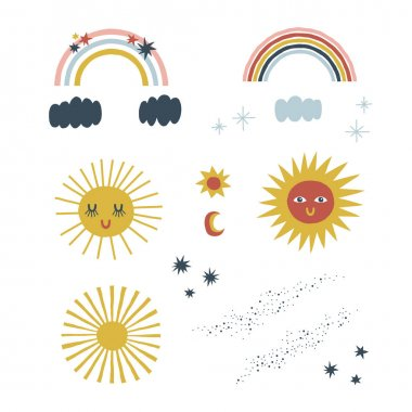 Scandinavian decorative sun character rainbow cloud star vector clipart set isolated on white. Cute celestial childish illustration pack. icon