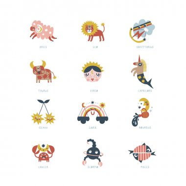 All zodiac character clip art set isolated on white. Cartoon horoscope vector illustration pack. Magical Boho baby spiritual astrological design. Scandinavian decorative childish icons. icon