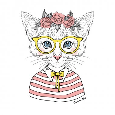 Kitty girl hipster in glasses