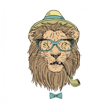 Lion in hat with smoking tube
