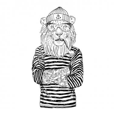 Lion sailor with tobacco tube