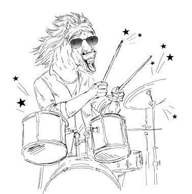 Hand drawn horse drummer