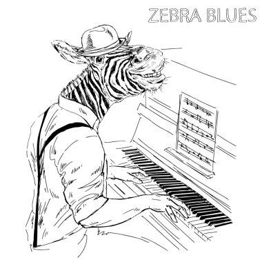Hand drawn zebra pianist