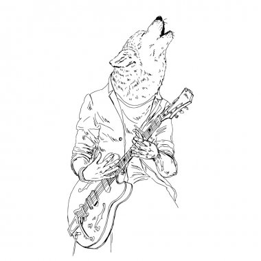 Wolf playing guitar