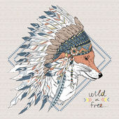 Fox warrior in war bonnet