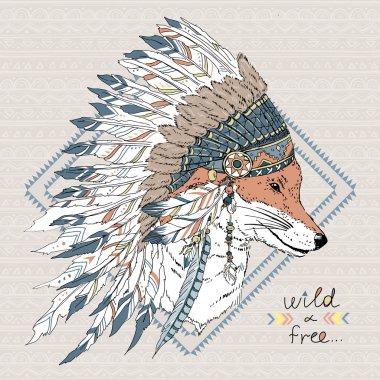 Fox warrior in war bonnet