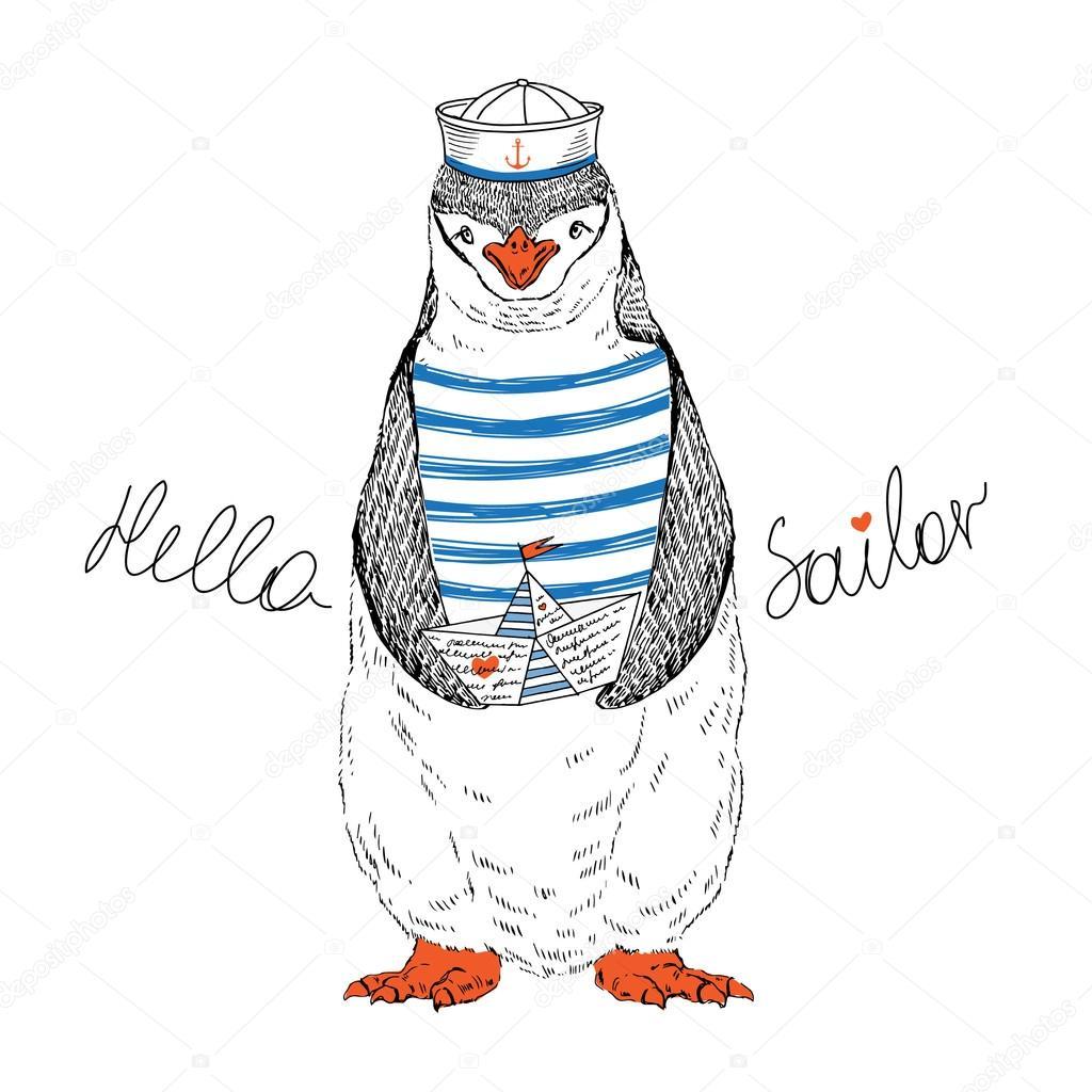Navegante náuticos pingüino — Vector de stock © olga.angelloz #69936161