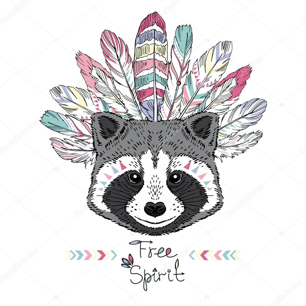 Raccoon aztec style illustration