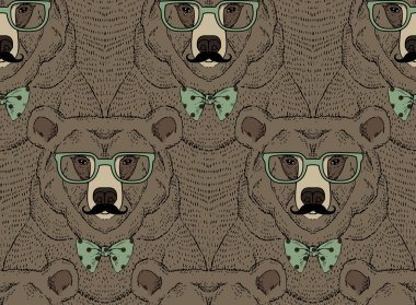 Animal pattern, bear print, hipster fashion design clip art vector