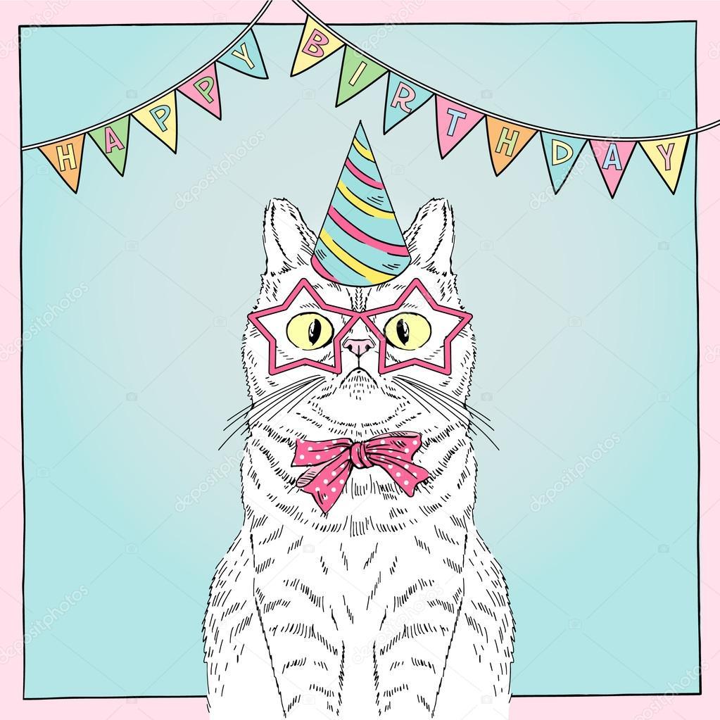 roliga födelsedagskort att skriva ut Födelsedagskort med rolig katt — Stock Vektor © olga.angelloz  roliga födelsedagskort att skriva ut