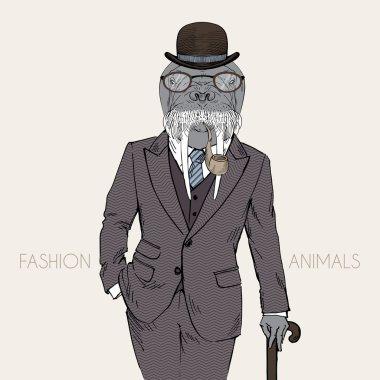 walrus in retro style