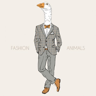 goose dressed up in suit