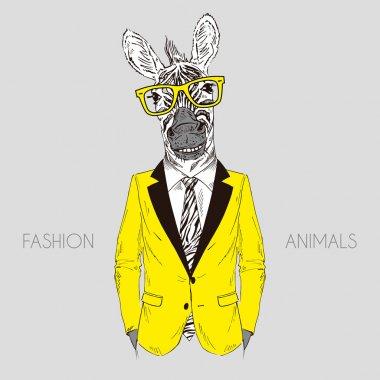 Zebra boy dressed up in office suit