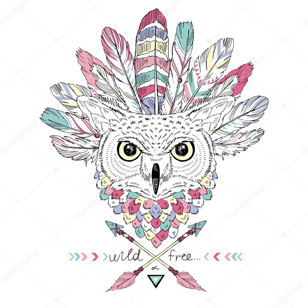 indian owl in war bonnet, t-shirt