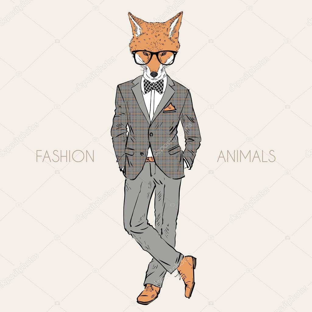 ツイードの服を着た狐 — ストックベクター © olga.angelloz #82712774