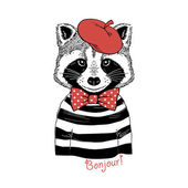 raccoon in red beret