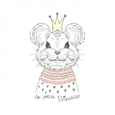 fashion portrait of cute mouse princess