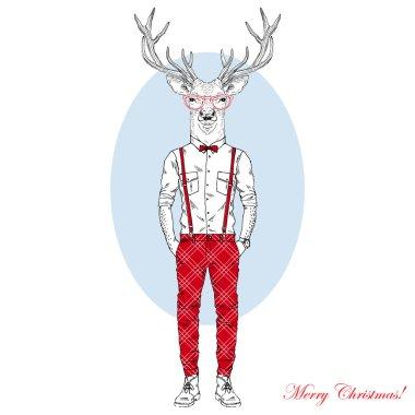 Christmas Hipster Deer character