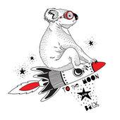 Koala flying on rocket to the moon