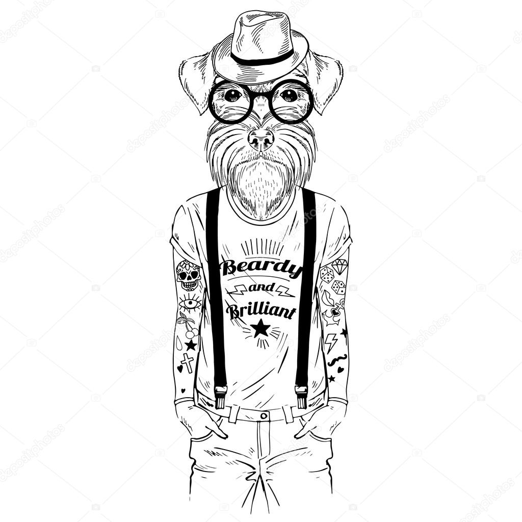 Dog Hipster With Tattoo Dressed Up Stock Vector 89760954