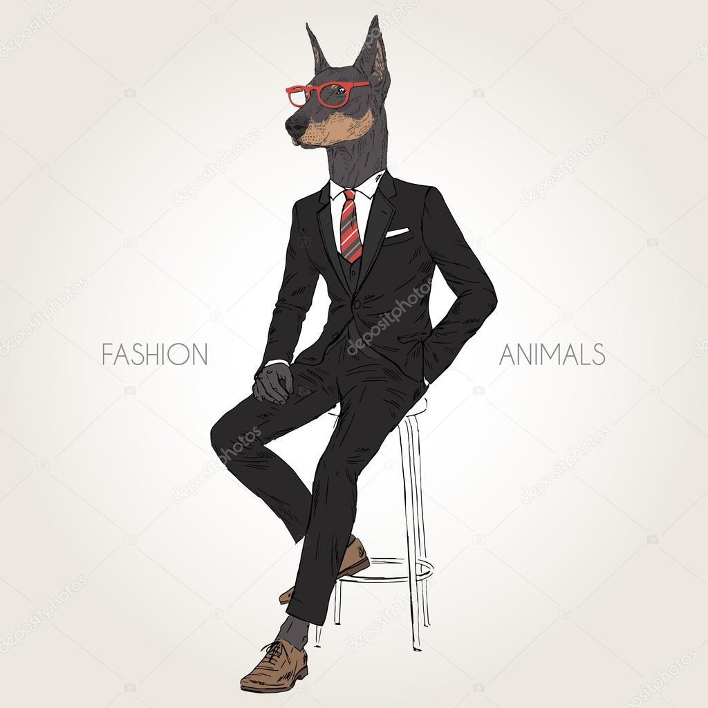 Dog dressed up in black suit