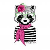 Photo raccoon girl portrait